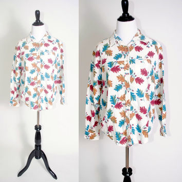 Vintage 1990s long sleeve oversize oversized white fall leaf  graphic print soft cotton GRUNGE button down flannel shirt