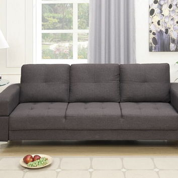 Poundex F6831 Nathaniel iii collection ash black linen like fabric upholstered futon sofa bed with arms