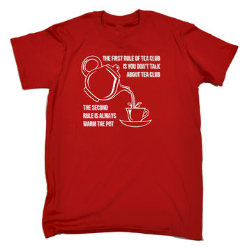 123t USA Men's The First Rule Of Tea Club Always Warm The Pot Funny T-Shirt