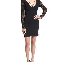 David Koma Macrame-Sleeve Cady Mini Dress, Black