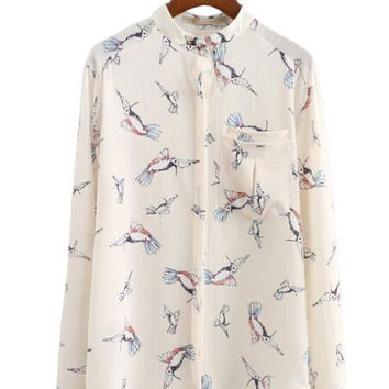 Women cute kingfisher birds print V-neck office blouses long sleeve pockets back hollow out casual loose shirts blusas LT993