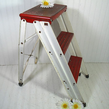 Vintage Red & White Enamel Metal Folding Step Stool - Chippy Paint Heavy Duty Household Ladder - Industrial Christmas 3 Level Display Stand