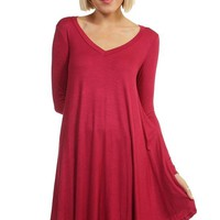 Crazy For This Girl Piko Dress in Maroon