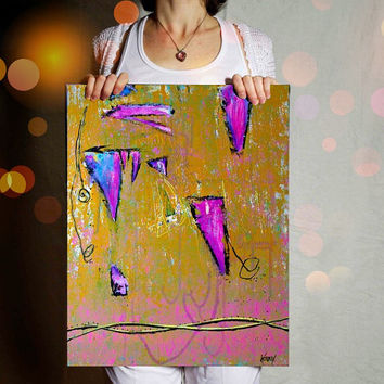 Original Abstract Painting. Mixed Media Art. Pink wall art by Heroux 16x20 canvas