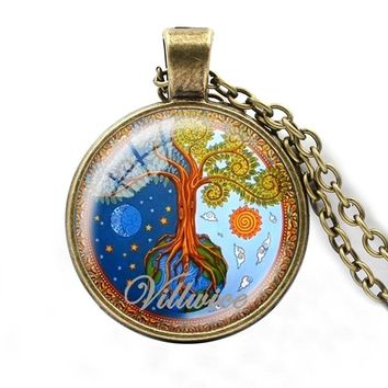 cc516572e770a VILLWICE Fashion Tree Of Life Necklace Women Men Glass Cabochon