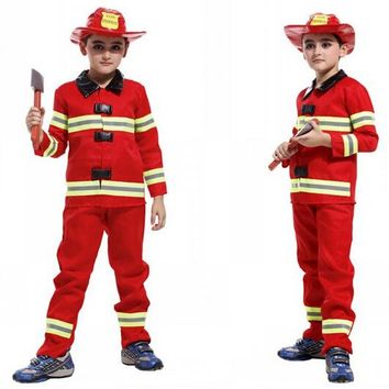 Fireman costumes boys play stage Halloween children clothing firefighters fire fighters co47147