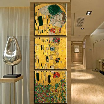 ZZ1620 3 panel Modern Abstract Gustav Klimt Kiss Painting Picture Canvas Art Replca Wall Pictures For Living Room No Frame