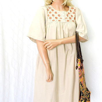 boho tunic dress/ size S / M / Indie embroidered patio dress / beige cotton smock dress / smocked cotton muu muu dress  / SunnyBohoVintage