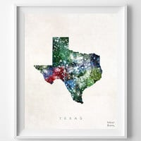 Texas Map, Austin Poster, Watercolor, Painting, Nursery, Room, Home Town, Wall Art, USA, United States, Decor, Gift [NO 378]