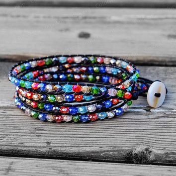 4 Wrap Leather Bracelet Colorful Crystal Rainbow Beads Wrap Bracelet Charm Bracelet Leather Wrap Bracelet 4mm Beaded Bracelet
