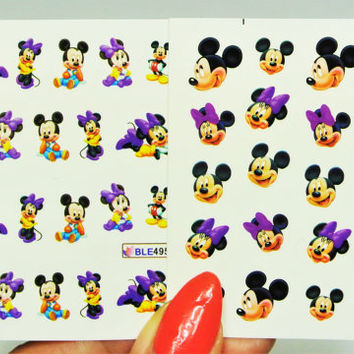 2 sheets Purple Mickey Mouse Nail Design, Baby Minnie Mouse Nail Design, Nail Art, Nails, Mickey Mouse, Minnie Mouse, Baby Mickey, Cartoon
