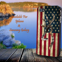 Browning Deer Camo American Flag - Print on hard plastic for iPhone case. Please choose the option.