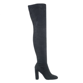 Kennice Over Knee Thigh High Boots - Womens Pull On Chunky Heel Winter Heels