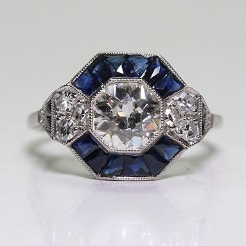 Antique Edwardian Style .925 Sterling Silver Blue Sapphire & White Topaz Ring