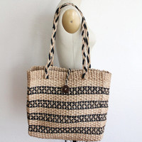 Vintage 70s Extra Large Tan & Black Rattan Woven Tote Bag // XL Purse