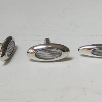 Silver Cuff Links and Tie Clip Set Signed Hickok USA Vintage Mens Accessories Matching Brush Stroke Design Oval