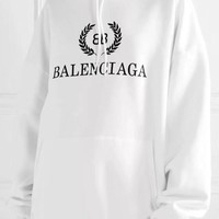 """Balenciaga"" Simple Casual Letter Print Solid Color Long Sleeve Hooded Sweater Women Hoodie Sweatshirt Tops"