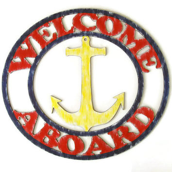 Welcome Aboard Sign with anchor hand painted wood in blue, red and yellow, weathered nautical decor, beach decor, lake house, coastal decor