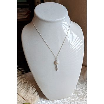 One of a Kind Sterling Silver Coin Pearl 18 Inch Bridal Necklace
