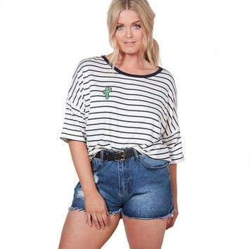 Tops and Tees T-Shirt Misskoko 2018 Plus Size Women Clothing Preppy Style O-neck Half Sleeve Top Tee Stripes Simple Soft Casual Big Size T-shirt AT_60_4 AT_60_4