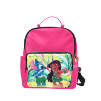 Psylocke Genuine Leather School Backpack in Lilo and Stitch Print