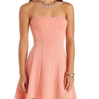 Textured Open Back Strapless Skater Dress by Charlotte Russe
