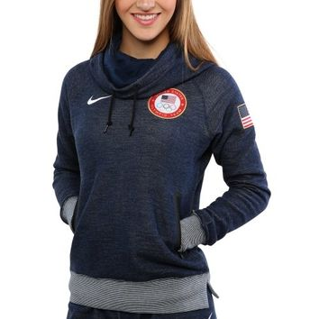 Nike USA Winter Olympics Ladies Wool Fleece Funnel Hoodie - Navy Blue