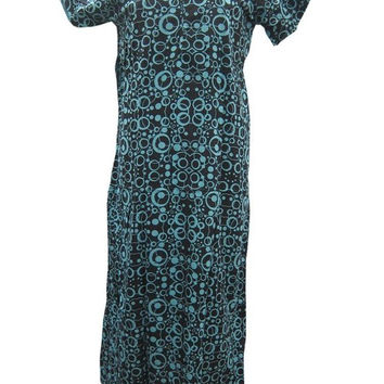 Kaftans Black Circular Print Cotton Caftan Dress Night Gown L / M