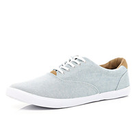 River Island MensLight blue chambray lace up plimsolls