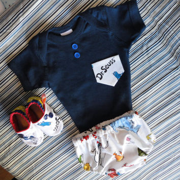 Dr. Seuss Inspired Baby Boy Outfit With Matching Booties Classic Dr. Seuss Inspired Outfit With Soft Sole Shoe Baby Boy Classic