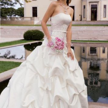 Satin Bodice Dress with Lace Yoke