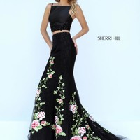 Sherri Hill Long Lace Dress 50199