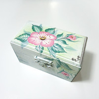 Hand painted Shabby-chic Proposal Ring Box Natural Wood Ring bearer Engagement box Trinkets box(3 3/4'' - 2'' - 2 1/4'' )by Elena Joliefleur