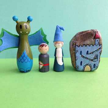 Castle kids room decor, playset with dragon wizard and knight, handpainted pegdolls and stone