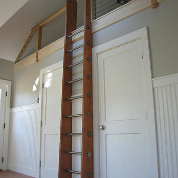 Custom Crafted Loft Ladder Library Ladder by HistoricFlooring