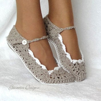 Slippers Crochet Pattern Women and Kids Skinny Flats by Genevive