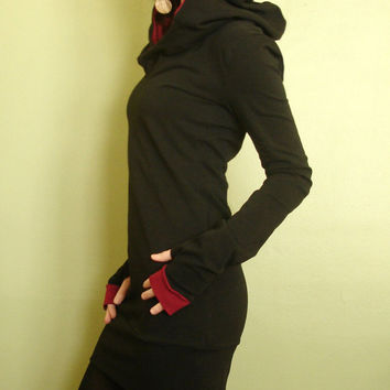 hooded tunic dress extra long sleeves w/thumb holes by joclothing