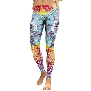 Paisley Mandala Flower Women's Powder Blue Yellow & Red Slim High Waisted Elastic Printed Fitness Workout Leggings