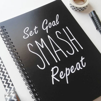 Writing journal, spiral notebook, bullet journal, black white, sketchbook, blank lined or grid paper, motivational - Set goal smash repeat
