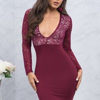 Mallory Lace Dress - Burgundy