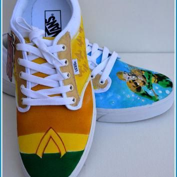 Mens Shoes, Mens Vans, Mens Painted Shoes, Mens Custom Shoes, Vans, Converse, Aquaman,