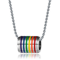 Rainbow Circular Charm Necklace