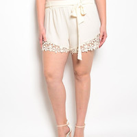 Plus Size Crochet Trim Light Shorts in Cream