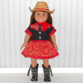 Red Cowgirl Halloween Costume for 18 inch Girl dolls Denim Dress with Cowgirl Hat and Scarf Optional Black Cowboy Boots