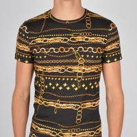 Versus Versace Gold Chain T-Shirt BU90103BJ20276 - Black