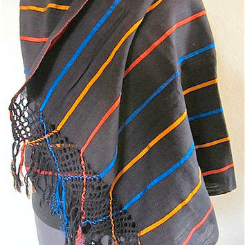 Vintage 70's Handwoven Guatemalan Striped Shawl Wrap Sash Pashmina, Cotton Exotic South American Native Tribal Unique Multicolored Accessory