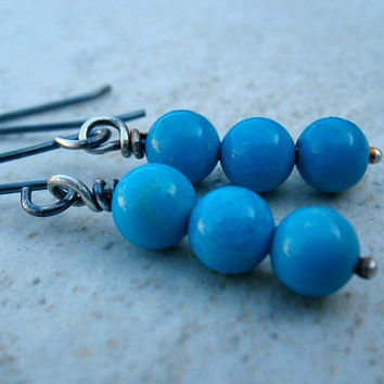 Turquoise Stack Earrings,Sterling Silver, Genuine Gemstone Jewelry
