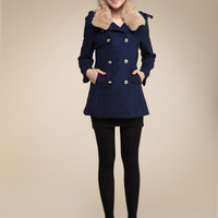 Rabbit Fur Collar Classic Warm Heavy Woolen Peacoat