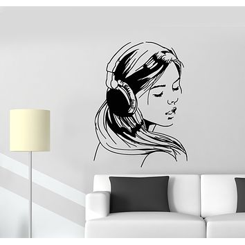 Vinyl Wall Decal Girl In Headphones Music Lover Stickers (3245ig)