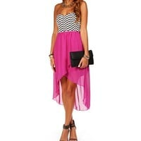 Berry Chevron Hi Lo Dress